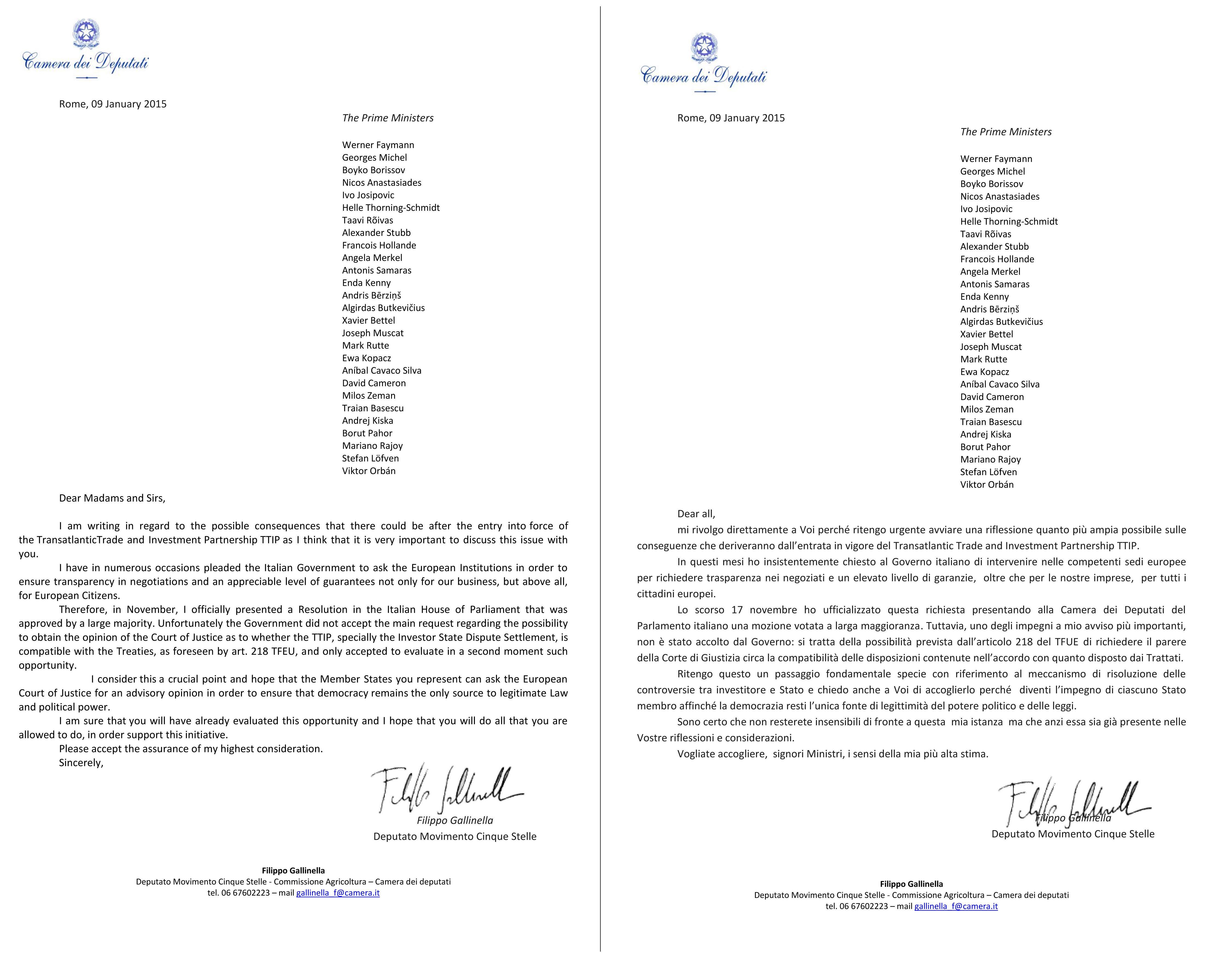 Lettera TTIP ai Ministri europei