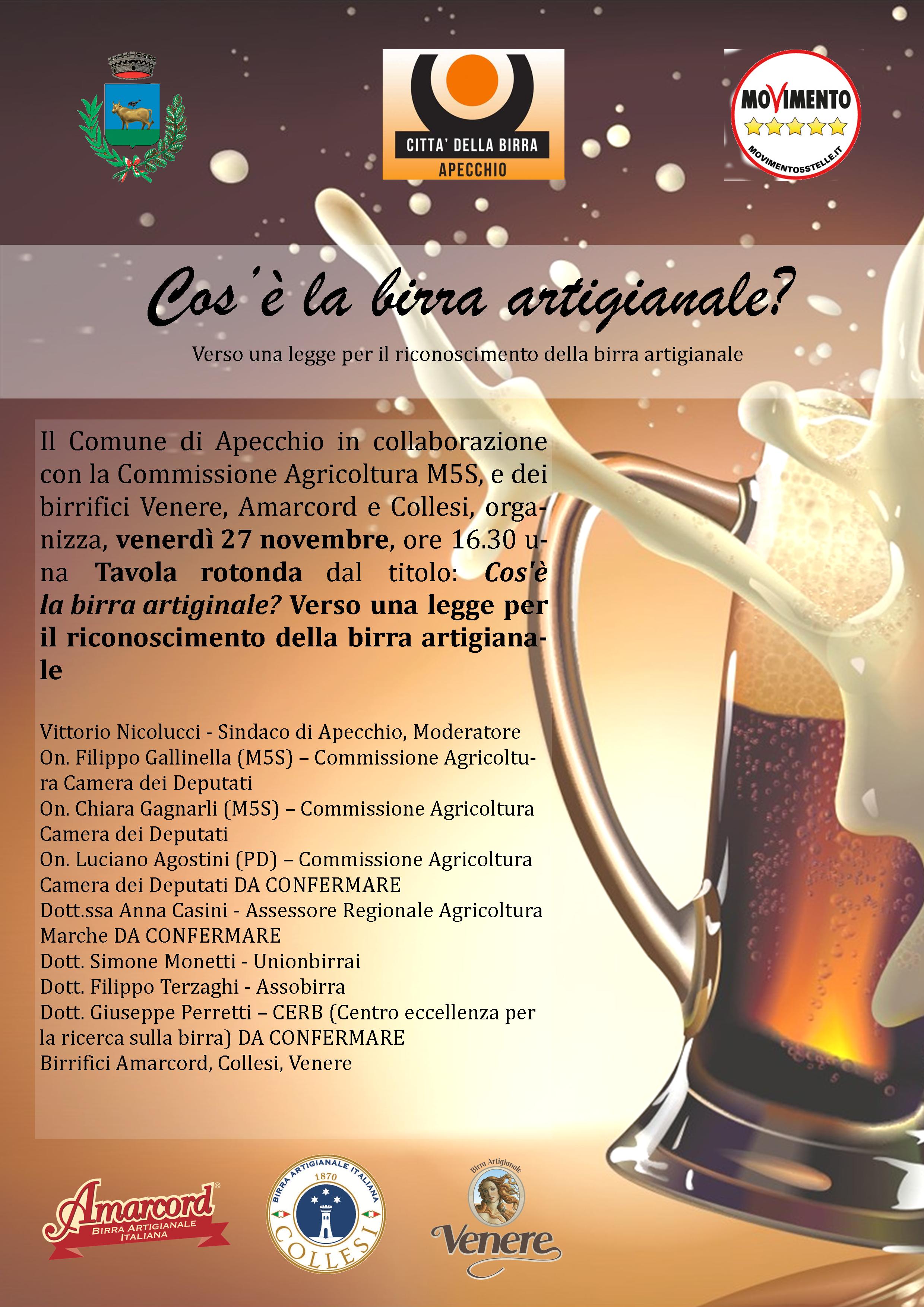 Locandina Evento birra 27 novembre tavola rotonda